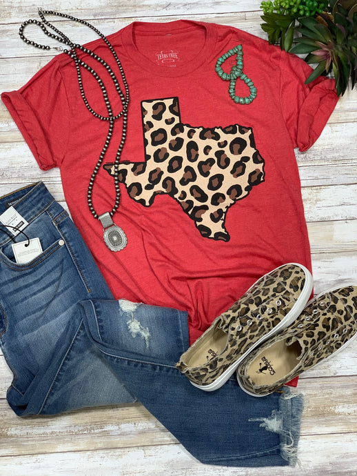 Red Leopard Texas Tee Graphic Tees  Texas True Threads - Horse Creek Boutique