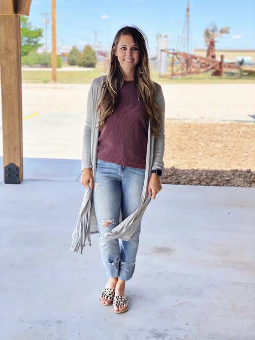 Grey Cardigan by Texas True Threads