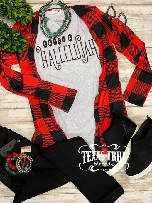 Buffalo Plaid Kimono Outerwear  Texas True Threads - Horse Creek Boutique