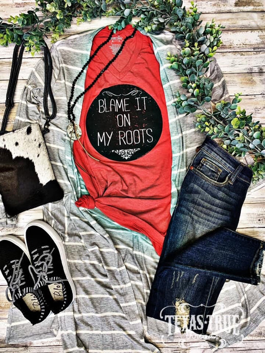 Blame it on my Roots on Red Graphic Tees  Texas True Threads - Horse Creek Boutique