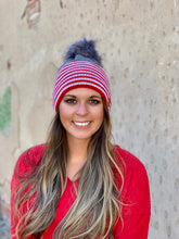 Panache Red Stripe Pom Beanie