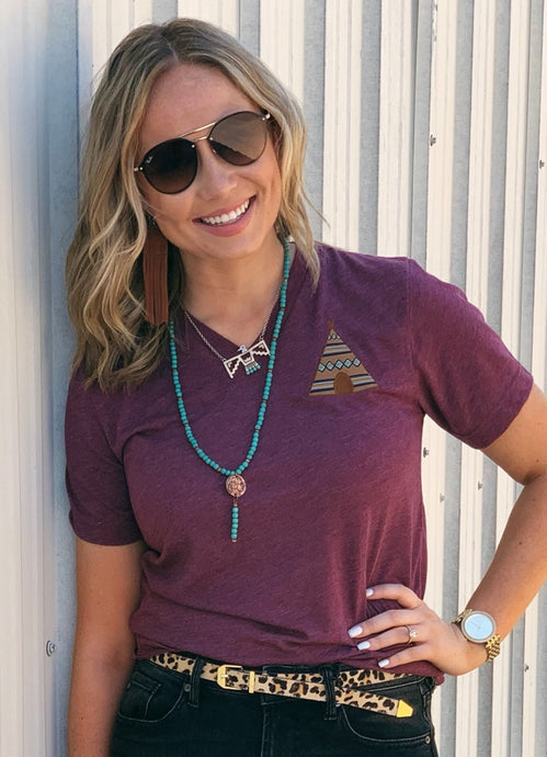Teepee Embroidered Tee by Texas True Threads