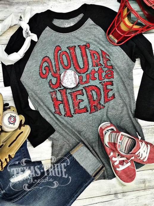 Outta Here Raglan by Texas True Threads Graphic Tees  Texas True Threads - Horse Creek Boutique