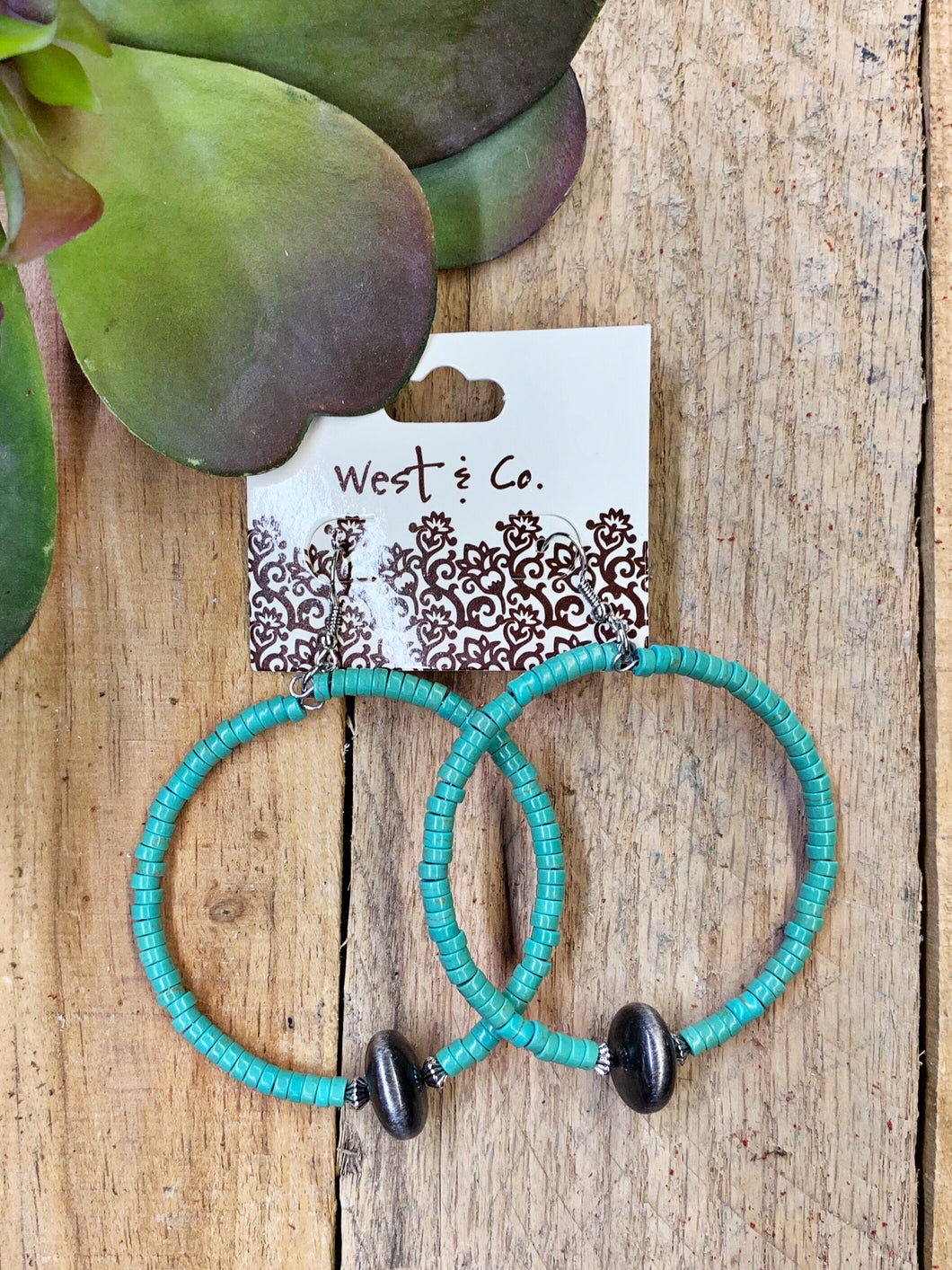 Turquoise Hoops Earrings  West & Co - Horse Creek Boutique