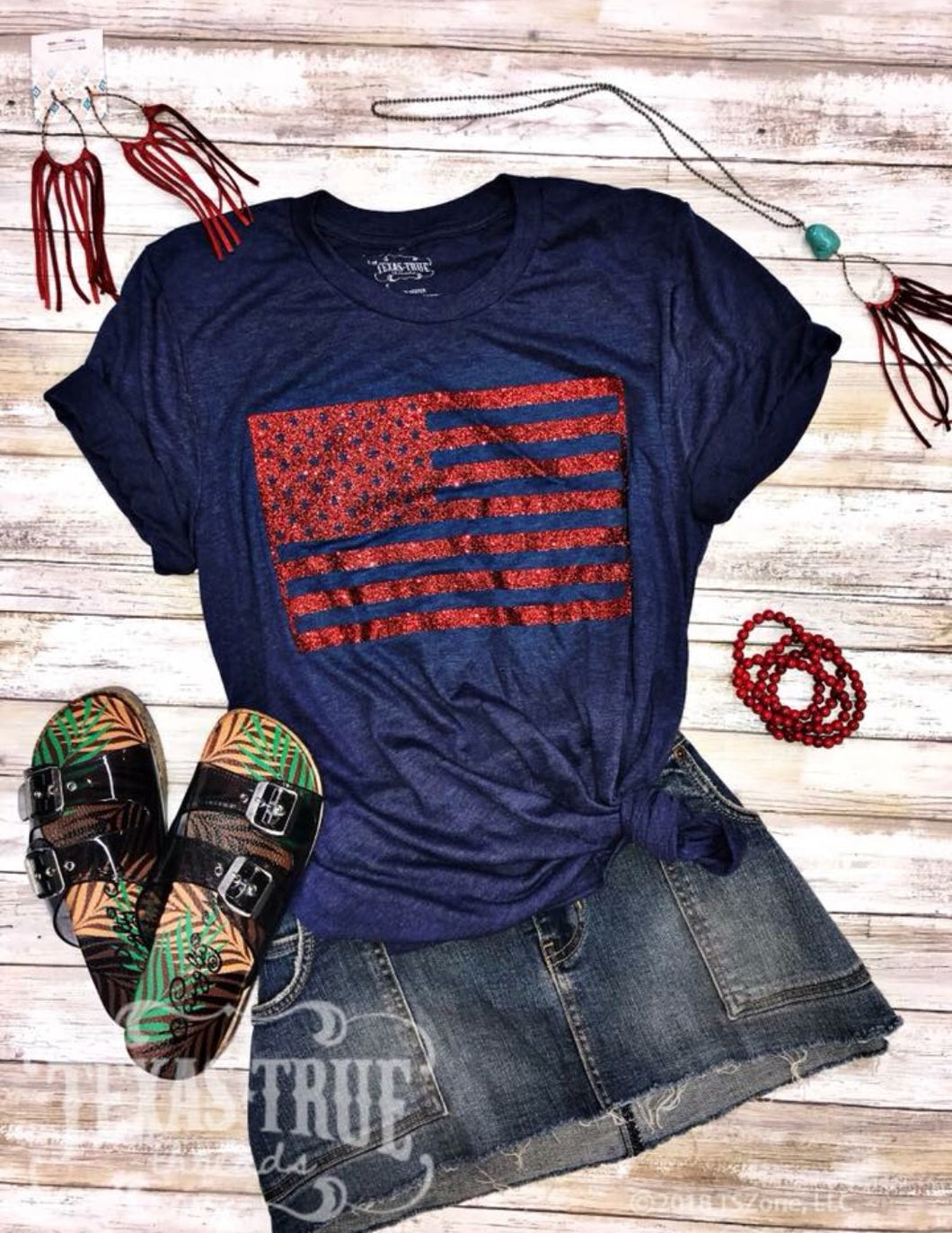 Red Glitter Flag Tee by Texas True Threads Graphic Tees  Texas True Threads - Horse Creek Boutique