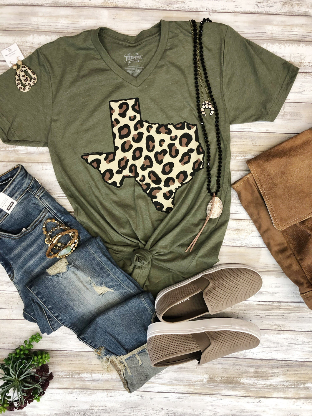 Big Leopard Texas in Olive by Texas True Threads Graphic Tees  Texas True Threads - Horse Creek Boutique