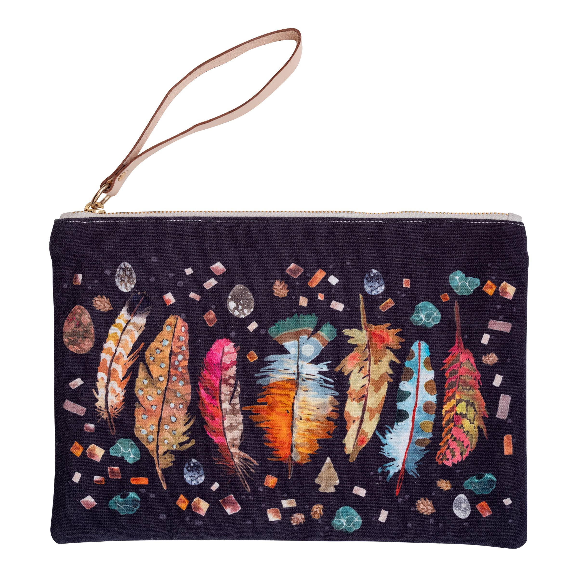 Feathers + Agate Pouch