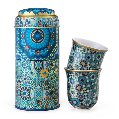 Moucharabieh Blue Tin Box, Two Coffee Cups