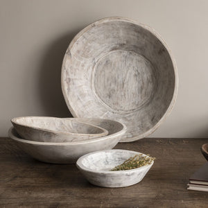 Found Dough Bowl, White Wash