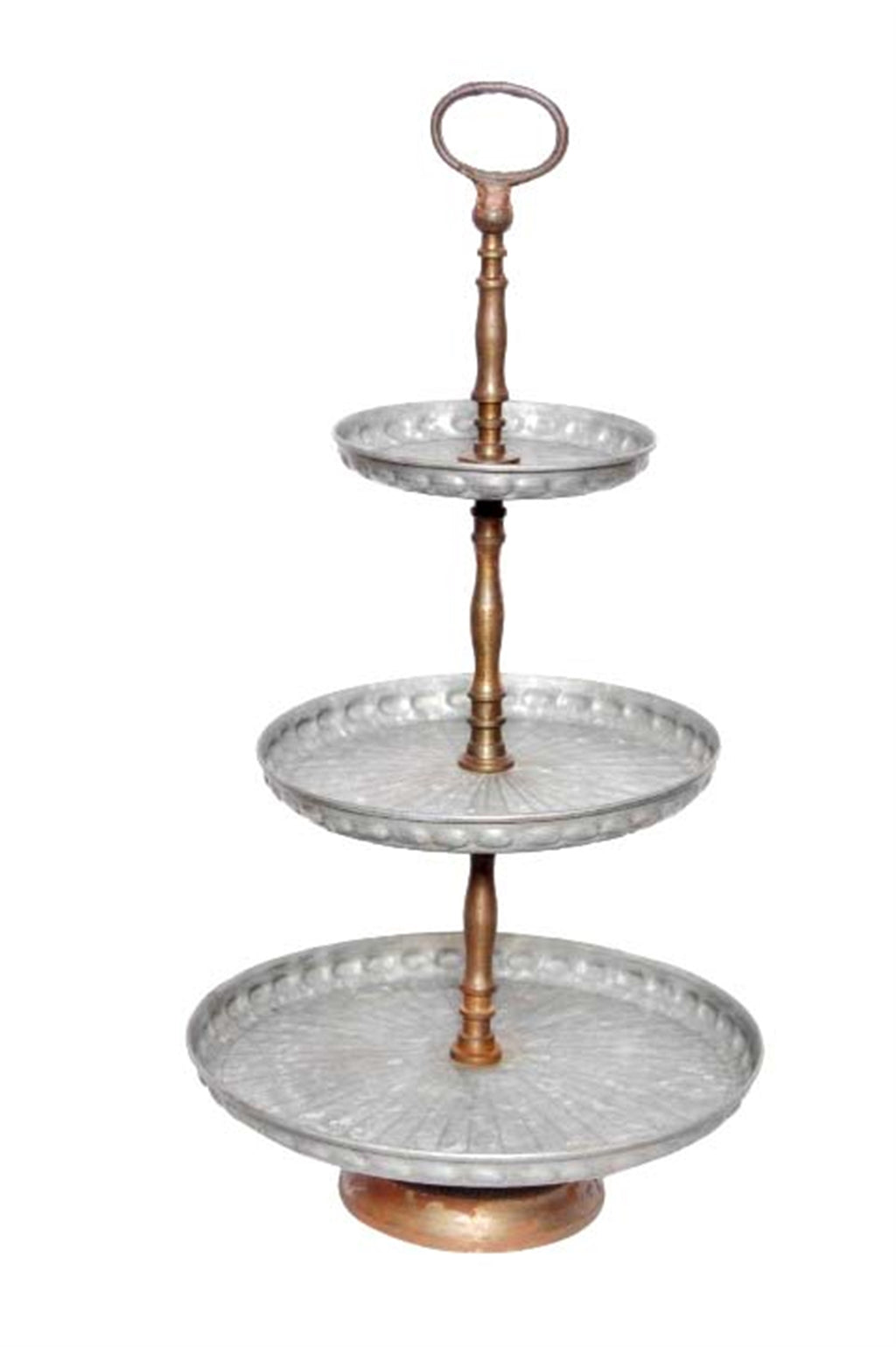 Galvanized Metal Three Tier Tray