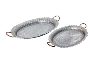 Galvanized Metal Tray, Scalloped