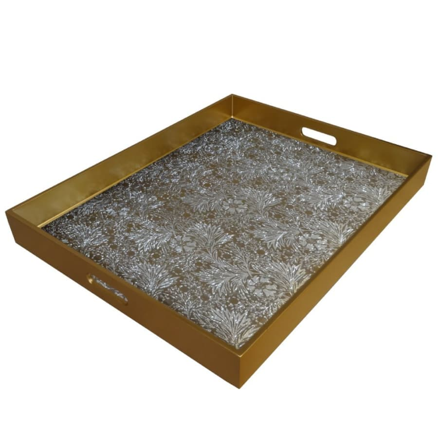 Painted Mirror Tray, Floral Gold & Silver