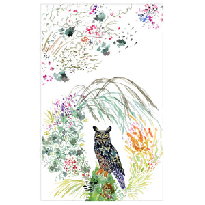 Great Horned Owl Tea Towel