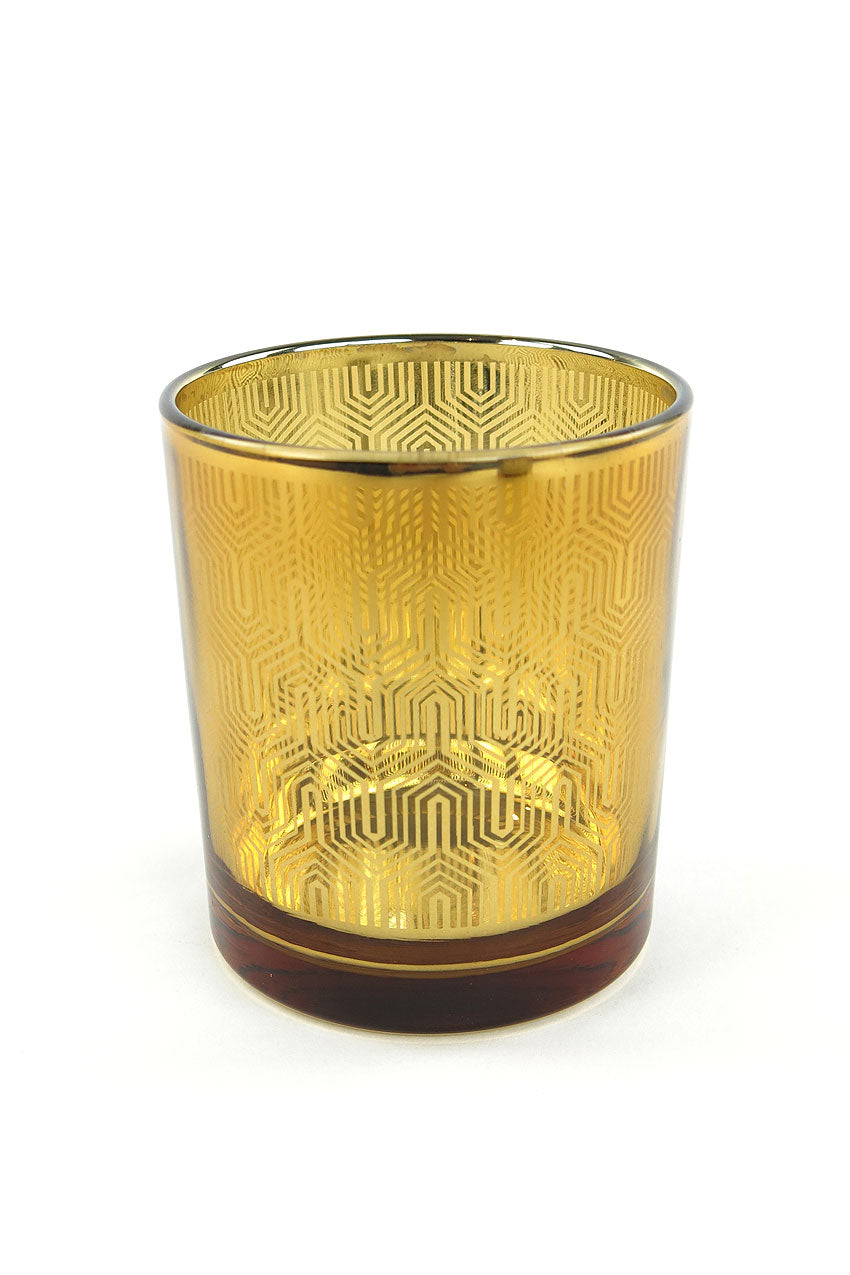Metallic Gold Glass Candleholder
