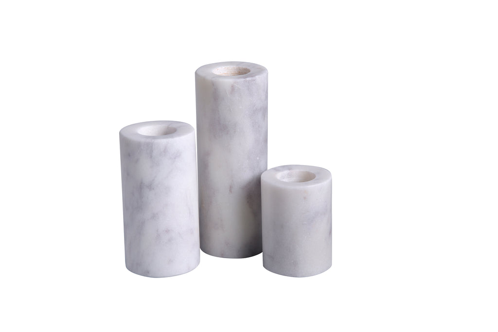 Marble Candleholders, Set of Three