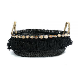 Boho Fringe Basket, Black