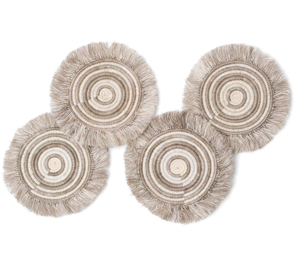 Fringed Geo Coasters, Taupe, Set of Four