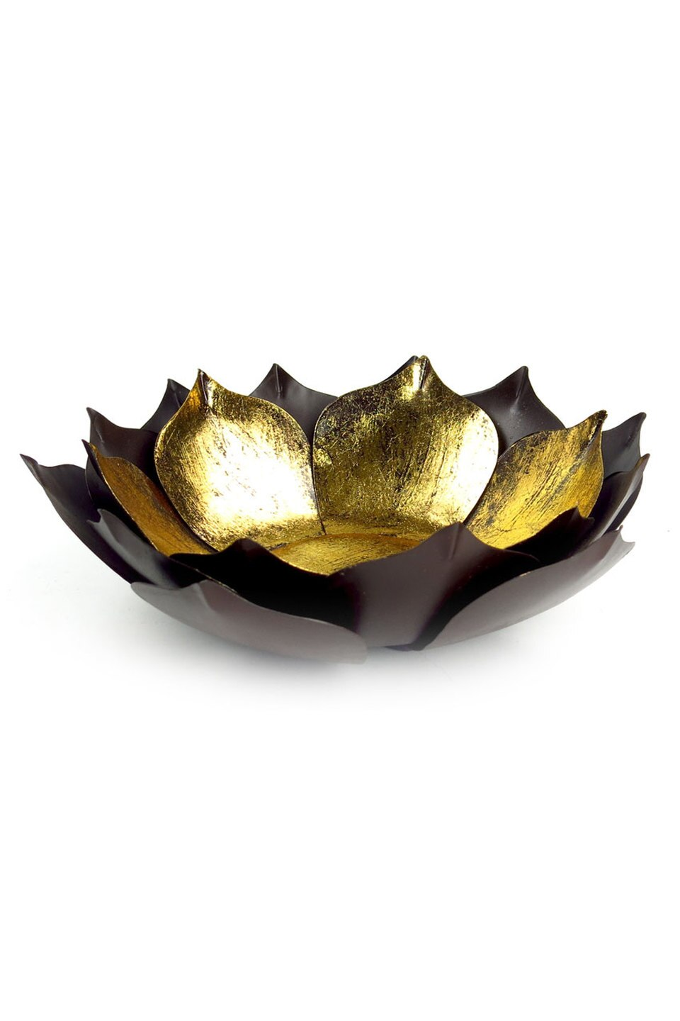 Gold Leaf Lotus Candleholder, Large