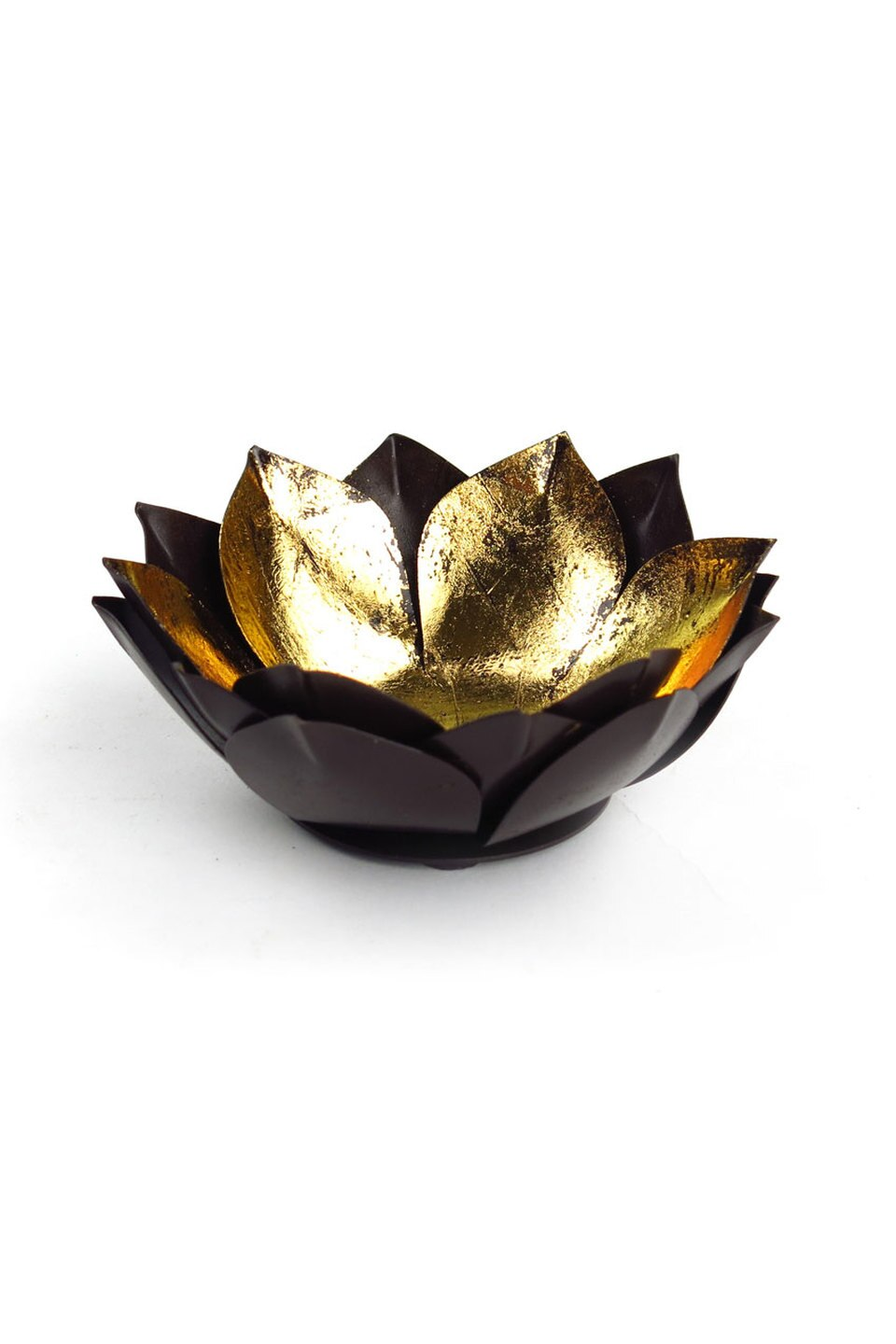 Gold Leaf Lotus Candleholder, Small