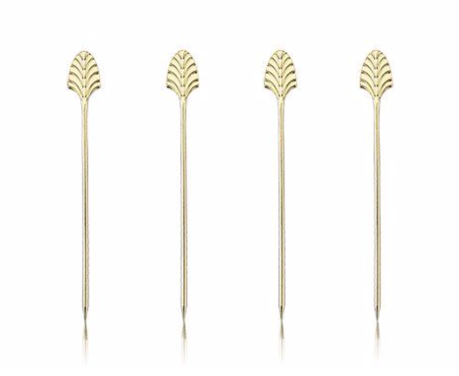 Art Deco Gold Cocktail Pick Set