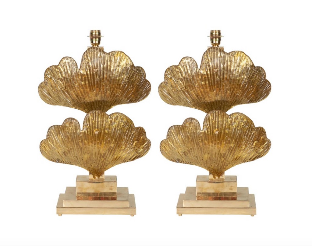 Murano Glass Ginko Leaf Lamps, Set of Two