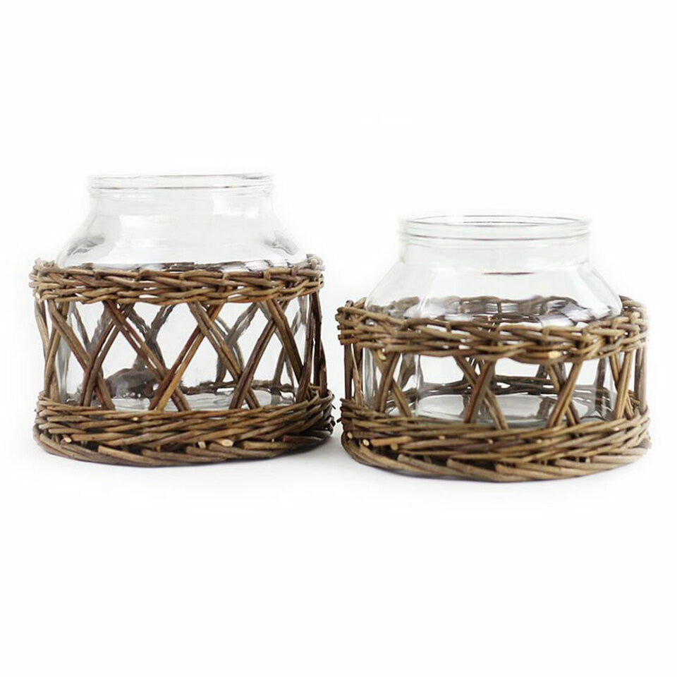 Glass + Wicker Basket