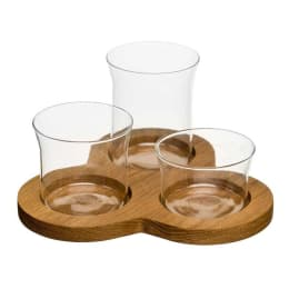 Oak & Glass Serving Trio