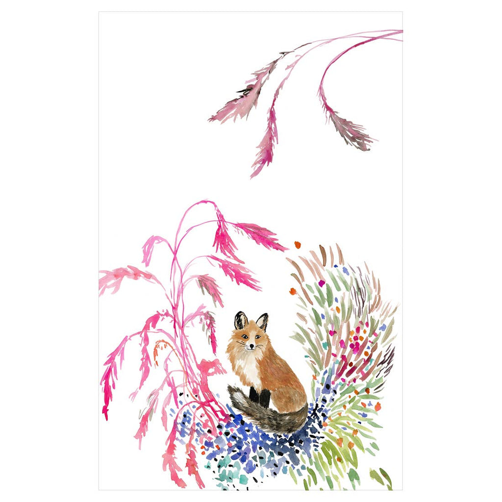 Fox Vignette Tea Towel
