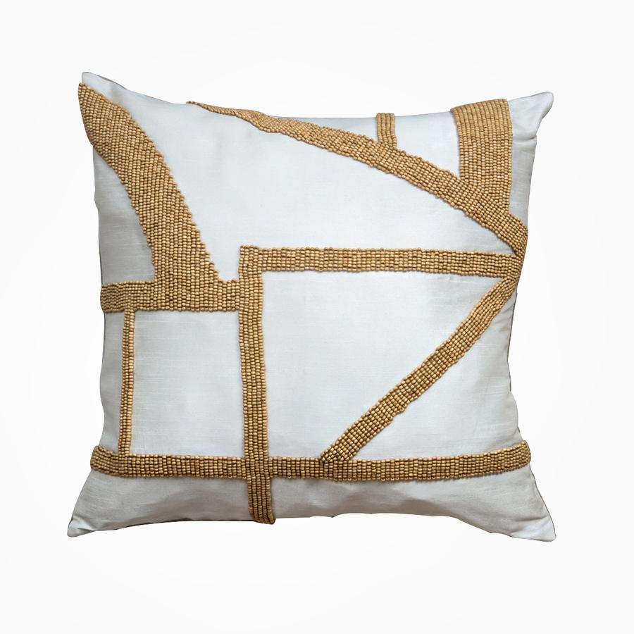 Hasani Beaded Cushion, Ivory