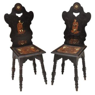 19th C. Austrian Renaissance Revival Bone-Inlay Chairs, Set of Two