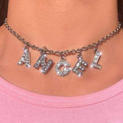 Kinky Cloth Necklace angel Angel Crystal Letter Necklace