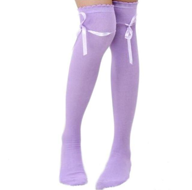 Kinky Cloth Socks Purple Baby Doll Ribbon Thigh High Socks