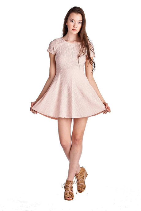 Ivory Felix Dresses Small / Pink 9 Baby Doll Textured Dress