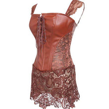 Kinky Cloth 200001885 Brown / S Back Zipper Lace Up Front Corset Dress