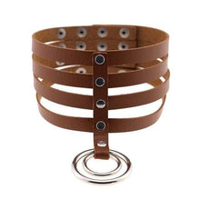 Kinky Cloth Necklace brown Banded Belt Collar