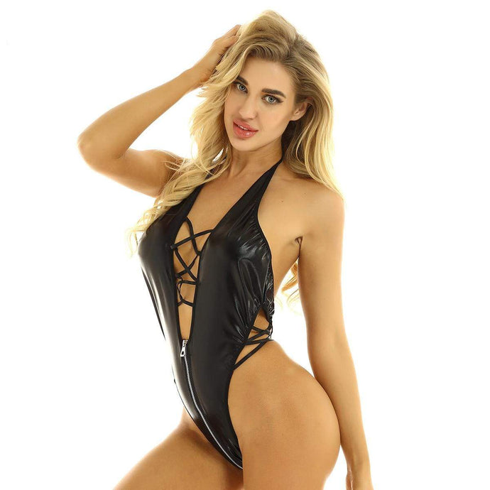 Kinky Cloth 201236202 Black Leather Skinny Bodysuit