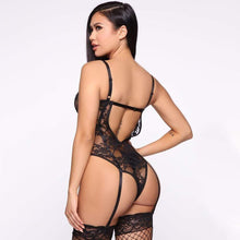Load image into Gallery viewer, Black Lace Sheer Cat Walker Bodysuit