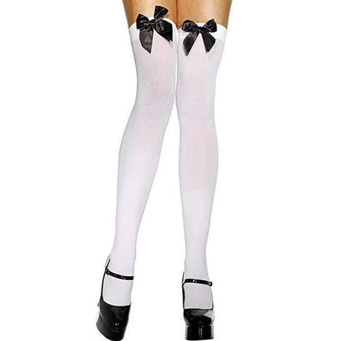 Kinky Cloth Bow Tie Thigh High Stockings