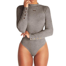 Kinky Cloth Gray / S Button Turtleneck Bodysuit