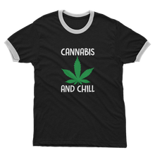 alloverprint.it Apparel Black / White / Unisex / S Cannabis and Chill Adult Ringer T-Shirt