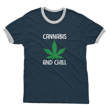 alloverprint.it Apparel Navy / White / Unisex / S Cannabis and Chill Adult Ringer T-Shirt