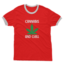 alloverprint.it Apparel Red / White / Unisex / S Cannabis and Chill Adult Ringer T-Shirt