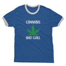 alloverprint.it Apparel Royal Blue / White / Unisex / S Cannabis and Chill Adult Ringer T-Shirt