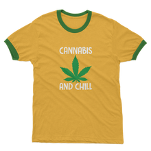 alloverprint.it Apparel Yellow / Kelly Green / Unisex / S Cannabis and Chill Adult Ringer T-Shirt