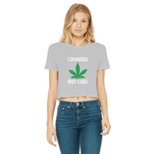 alloverprint.it Apparel Light Grey / Female / S Cannabis and Chill Classic Women's Cropped Raw Edge T-Shirt
