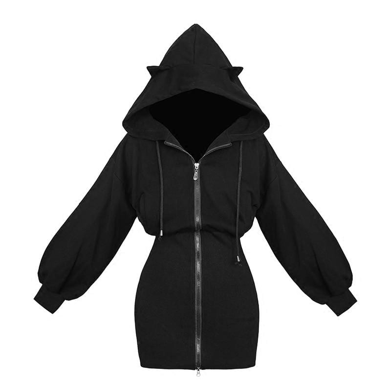 Kinky Cloth Hoodie Black Hoodies / L Cat Ears Hoodie Dress