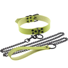 Load image into Gallery viewer, Kinky Cloth Necklace green Collar & Leash Set