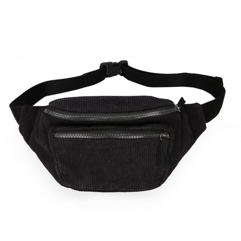 Kinky Cloth 380650 Black waist bag Corduroy Fanny Pack Bag