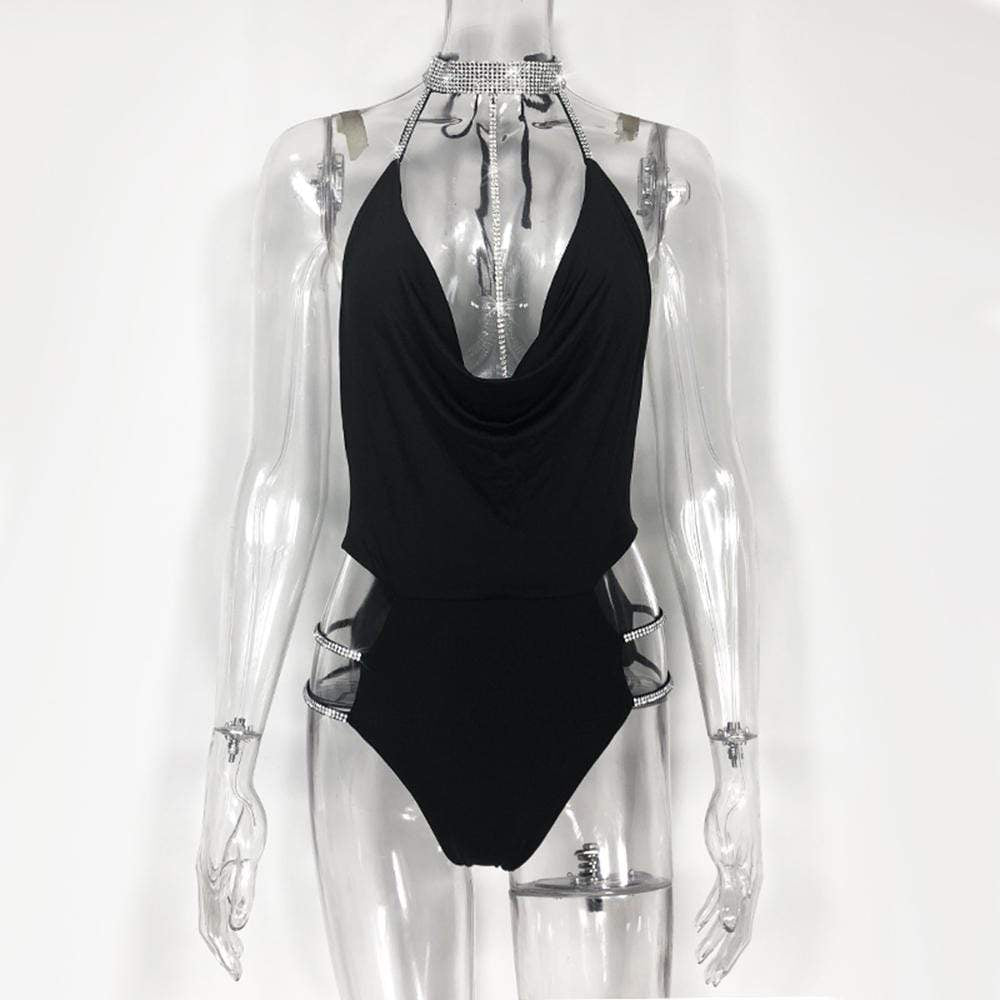 Kinky Cloth Bodysuit Black / L Crystal Bodysuit
