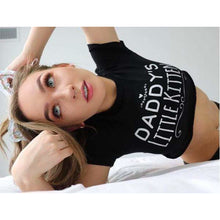 Kinky Cloth Top Crop Top - S / White/ Pink Font Daddy's Little Kitten Top